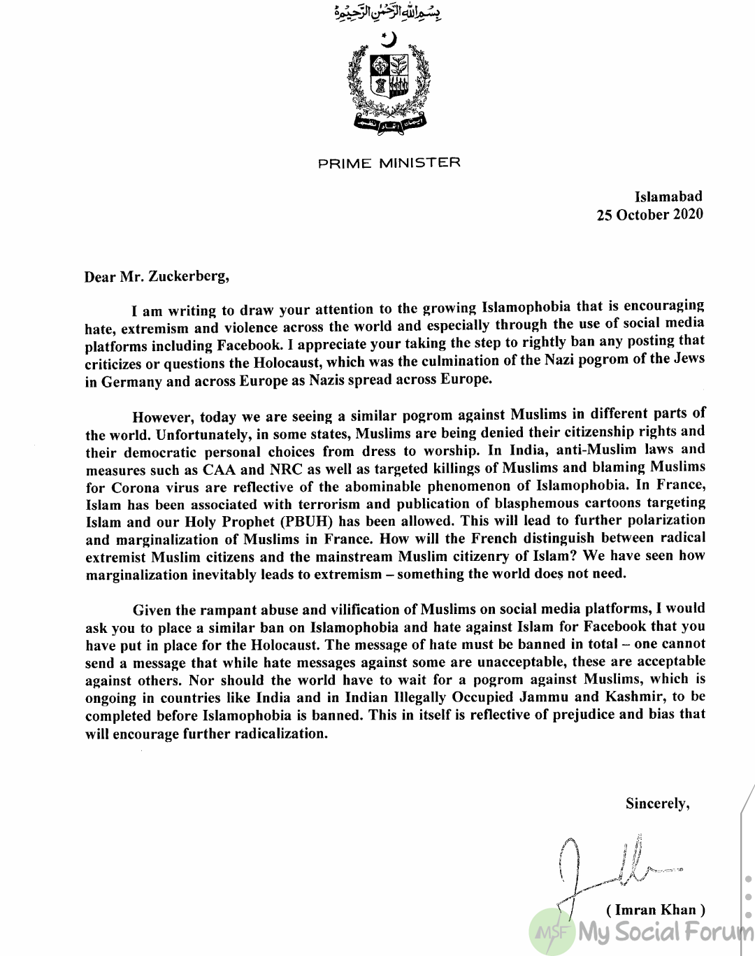 PM letter to facebook