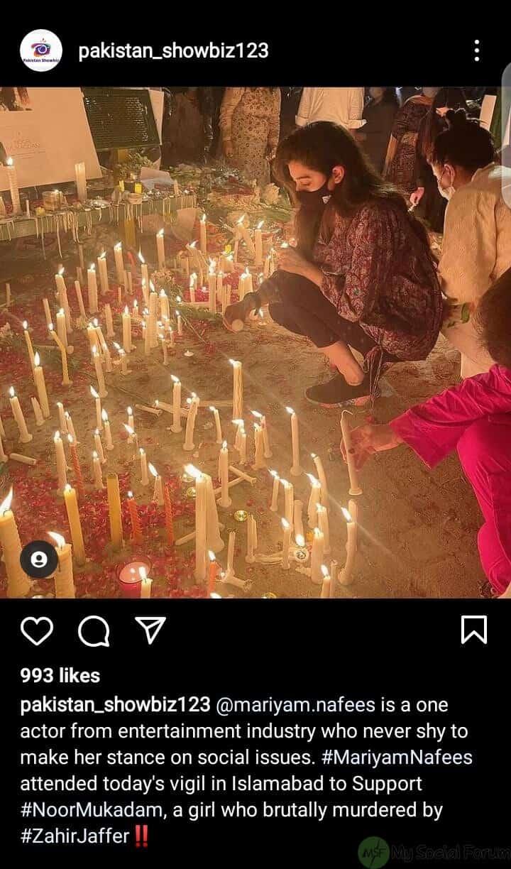 اداکارہ مریم نفیس نے نور مقدم کے حق میں آواز بلند کرنے باہر نکلیں