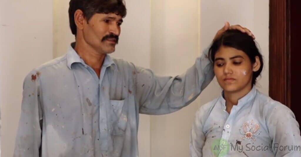 باپ کے ساتھ گھروں کے دور دیوار پر سفیدیاں اور پینٹ کرتی ماریہ خالد